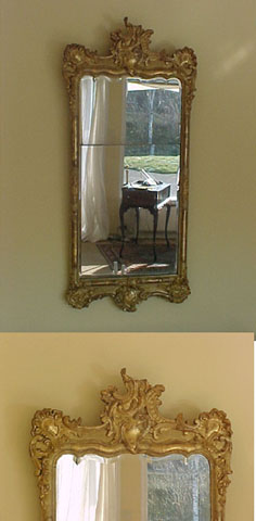 A rococo carvet and giltwood mirror, Danish or north German.