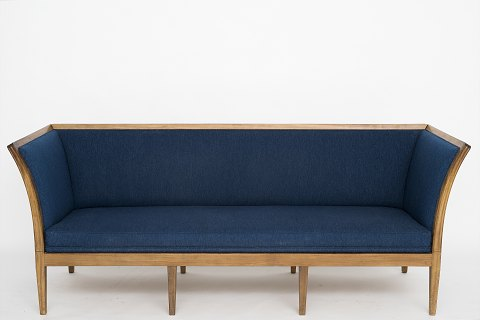 Cabinetmaker Jacob Kjær Sofa in cuba mahogny and blue wool. Used condition