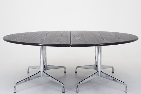"Charles & Ray Eames / Vitra ""Segmented"" table consisting of two half-tables black-glazed ash and aluminum frames 1 pc. in stock Good condition Location: Roxy Klassik Showroom - Jorisvej 11, 2300 KBH. S."