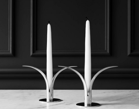 "A pair of candlesticks in Silver plated brass , ""Liljan"", Ivar Ålenius Björk, Skultuna."