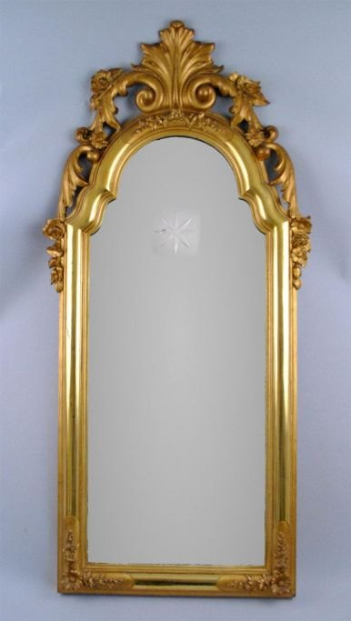 Nyrococo gilded mirror from Boller Castle at Horsens, 19th century.