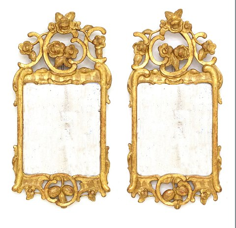 Pair of gilt Rococo mirrors. Denmark about 1760. 73x37cm