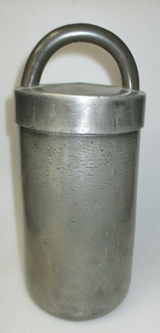 Cylindrical ice container with handle, pewter, 19th century. England.