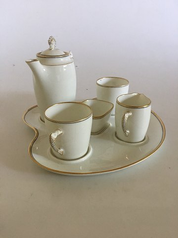 Bing & Grondahl Mocha Set, with tray, Jug, Creamer, Two Cups and Sugar Bowl.