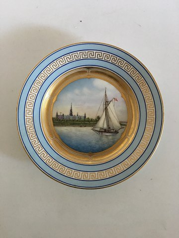 Bing & Grondahl Plate with Ship Motif and Gold Pattern