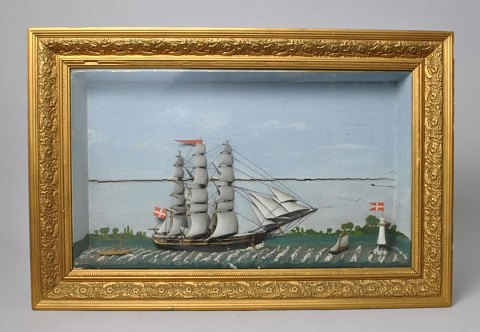 Danish half-ship, Diorama. 19th century