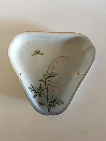 Bing & Grondahl Art Nouveau 3-sided dish with butterfly and dragonfly