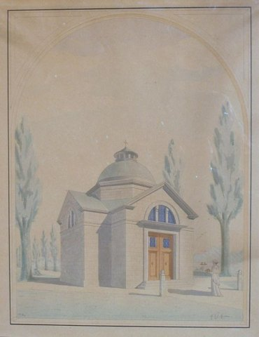 Danish artist (19th century) Denmark: Architecture drawing of temples.