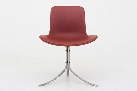 Poul Kjærholm / Fritz Hansen PK 9 - Chair in red leather w. frame in stainless steel. 1 pc. in stock Good condition Location: Roxy Klassik Butik - Godthåbsvej 20, 2000 FRB.