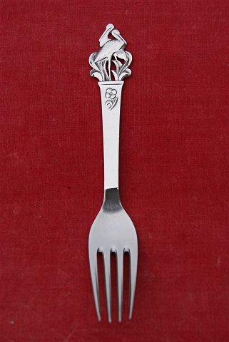 Cohr child's fork with pair of storks of silver