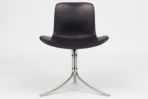 Poul Kjærholm / Fritz Hansen PK 9 - Chair in original, black leather w. frame in steel 2 pcs. in stock Original condition