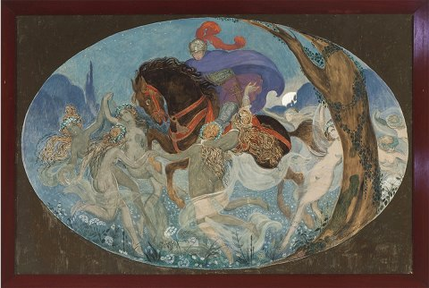 """Knights Oluf and the elven girls"" Gouache on paper, fitted with museum glass. Exhibited at Women's Museum in Denmark 1993."