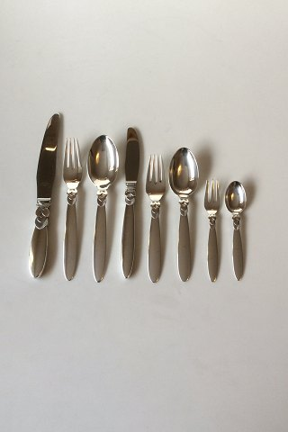Georg Jensen Cactus Sterling Silver Dinner and Lunch Flatware set 96 pieces