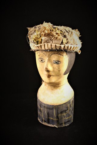 Decorative, 1800 Century French Millinerey head / wig head in painted paper-mache.