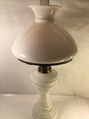 petrol lamp of mouth blown white opal glass. Lamp dome opaque glass. Fyns glassworks. Height incl. burn glass 59 cm. switch, Contact. telephone +4586983424