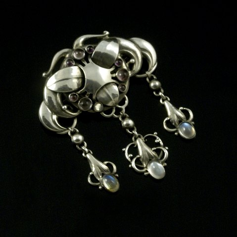Mogens Ballin's Eftf. Art Nouveau Silver Brooch with Moonstone and Amethyst.
