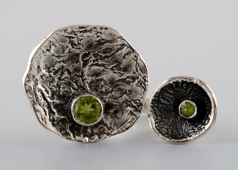 Swedish modernist sterling silver ring with two green stones in organic form.