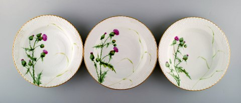 Three antique Royal Copenhagen plates hand painted in high quality with thistles.