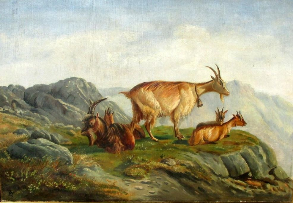 Zillen, Johan Wilhelm (1824 - 1870): Goats on a mountain.