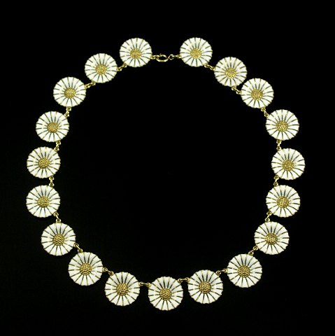 Georg Jensen. Gilded Sterling Silver 18mm Daisy Necklace with Enamel.