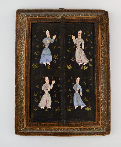 Antique Persian travel mirror, intarsia work, dancing people, 19th century.