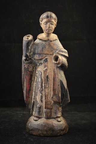 Early 1800's religious wooden figure with original paint and with nice old patina.