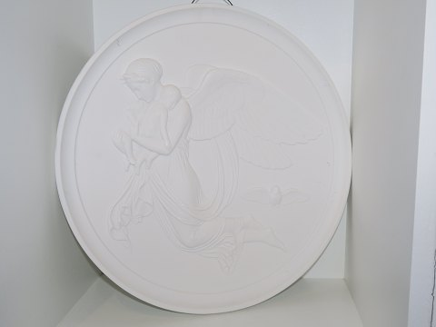"Royal Copenhagen biscuit / parian Extra large Thorvaldsen plate ""The Night"" 35 cm. from 1840-1890"