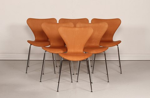 Arne Jacobsen 7 Chair AJ 3107 Extra high Chairs with cognac leather