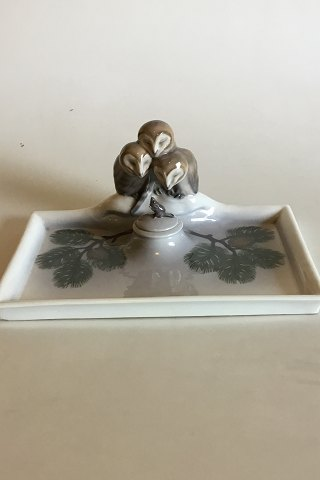 Royal Copenhagen Art Nouveau Inkwell Set with 3 Owls and 1 mouse