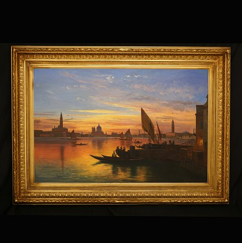 Carl Frederik Aagaard, 1833-95, Venice at dusk. Oil on canvas. Signed and dated 1881. Visible size: 78x119cm. With frame: 108x149cm