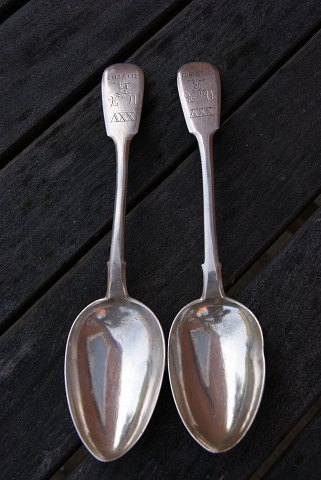 Russian silver flatware, 2 spoons from the period 1899-1908