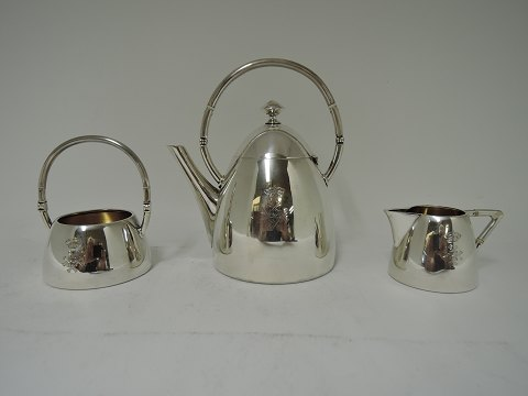 Tea service Sterling (925) 3 parts Mini set with crowned monogram HH