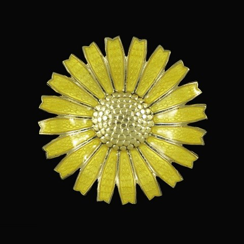 A. Michelsen. Gilded Sterling Silver Daisy Brooch with yellow enamel. 43mm.