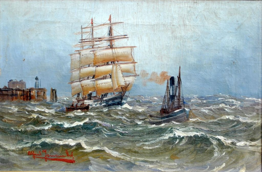 Jensen, Alfred (1859 - 1935) Germany: The pilot leads the sailing ship in port.