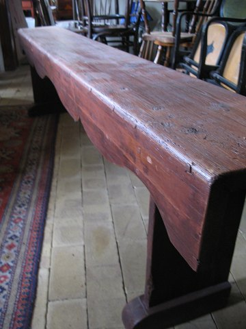 Old Red Wooden Bench
