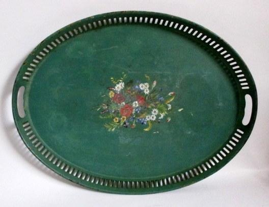 Swedish green painted metal tray, 19th century.