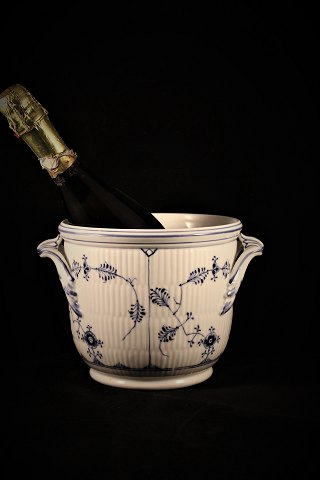 Antique Blue Fluted (plain) champagne cooler with handles from Royal Copenhagen.