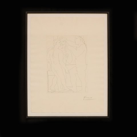 "Pablo Picasso, 1881-1973, ""Deux hommes sculptés"". Etching from 1939. Limited edition of 260. Size: 44x33,5cm"