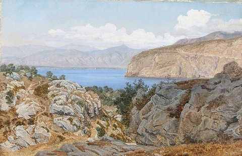 """Coastal area at Sorrento"" Oil painting on canvas. Unsigned, but marked on the back with year 1866."