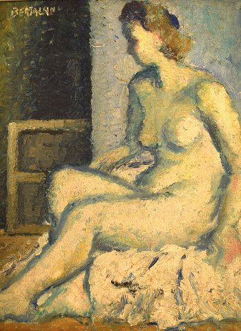 Albert Bertalan (b. 1899, 1995), Hungarian / French artist. Oil on canvas. Seated nude model. 1940's.
