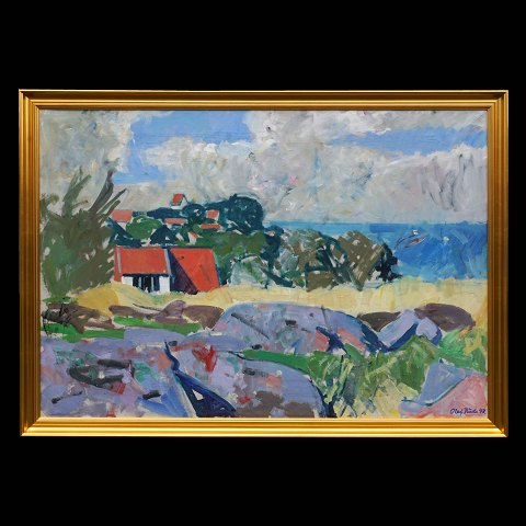 Olaf Rude, 1883-1957, View from the artist's studio, Bornholm. Oil on canvas. Signed and dated 1943. Visible size: 79x114cm. With frame. 83x118cm