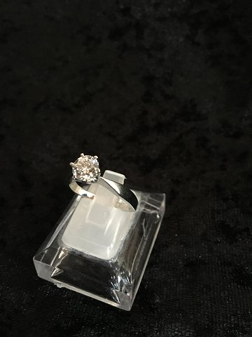 14ct whitegold ring with brillant 1,00ct w/si2
