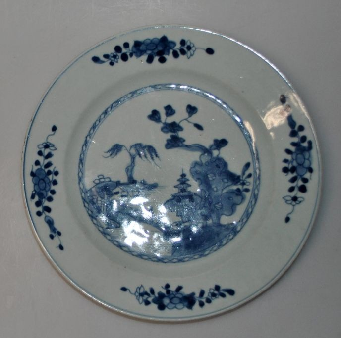 Blue and white plate, 18th century China.