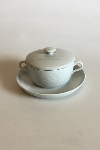 Royal Copenhagen Gemma Bouillon Cup with lid and saucer No 14690