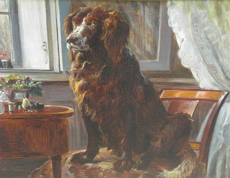 """August"" Dog painting Th. Philipsen (1840-1920) Oil on canvas 57,5 x 70 cm including original gold frame"