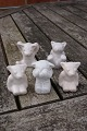 Hjorth Danish ceramics, bear figurines of white glaze