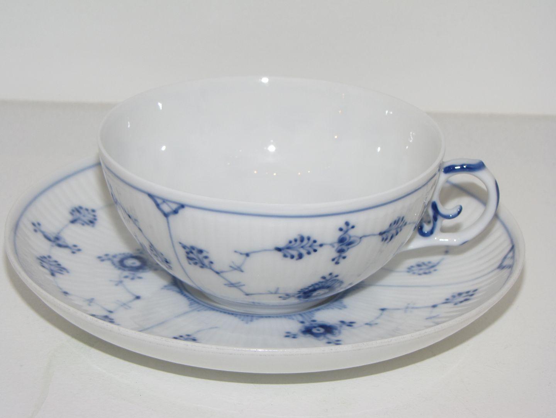 Worldantique Net Blue Fluted Plain Thin Extra Large Tea Cup