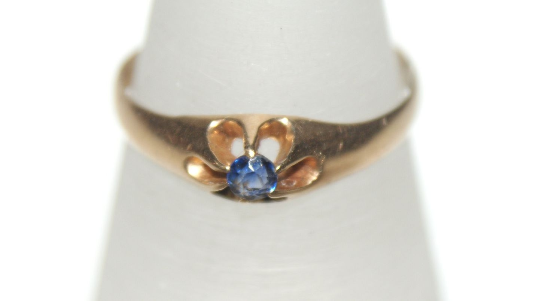 antik guld safir ring