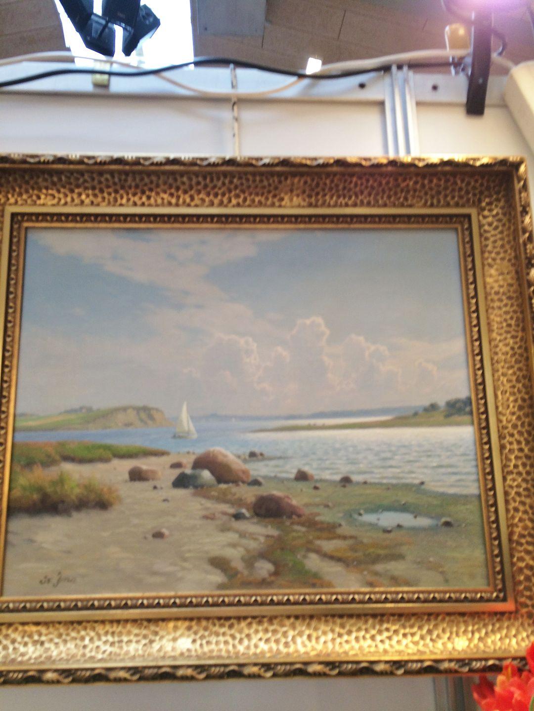 worldantique net svend drews landscape painting with sailboat