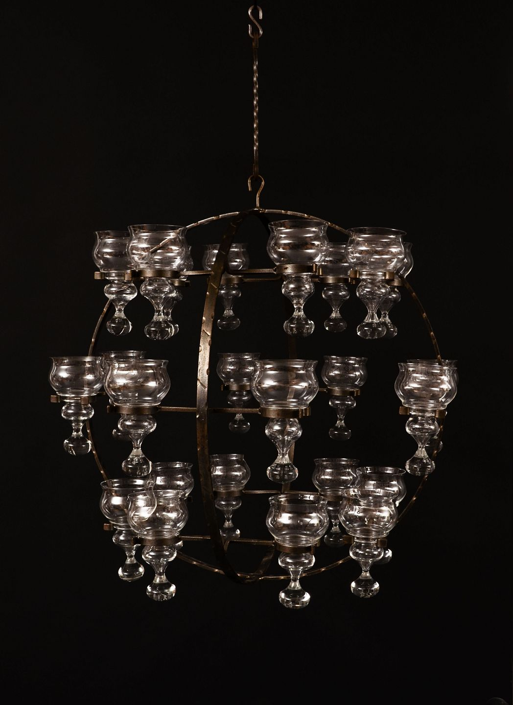 Monumental Spherical Ceiling Lamp Chandelier In Wrought Iron With Art Gl Domes For Candlelights